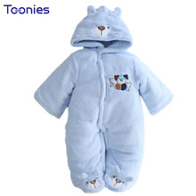 Winter Newborn Hooded Rompers Cartoon Embroidery Baby Thick Warm Jumpsuit Feet Covered Infantil Boys Girls Coral Fleece Clothing