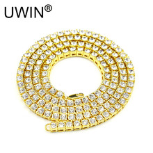 UWIN Men Gold Color Necklace 1 Row Rhinestone Crystal Iced Out Hip Hop Necklace Chain Fashion Punk Rock Jewelry 24inch-30inch