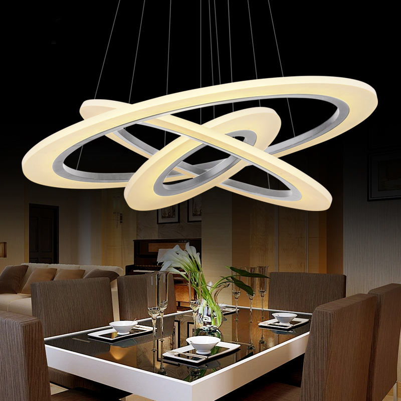 Modern pendant lights for living room dining room 3/2/1 Circle Rings acrylic aluminum body LED Lighting ceiling Lamp fixtures<br>