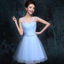 robes de soirees new vintage elegance women light sky blue sleeveless girl Cocktail dress party dresses new fashion 2017 H3406