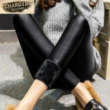 Autumn winter Women's leggings Outside wear Leggings Girl's thicker Plus cashmere Slim was thin warm pants X-3xl size leggings(China)