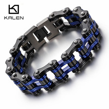 Kalen Cool Bike Chain Bracelets Men's  Stainless Steel Heavy Chunky Black & Blue Bicycle Chain Bracelets Male Accessory Gifts