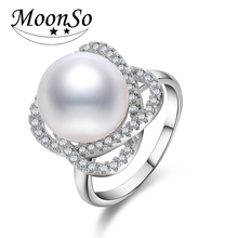 Moonso New Fashion Imitation Pearl Ring 925 Sterling Silver Ring For Women Engagement Wedding Ring Women Jewelry LR4206(China)