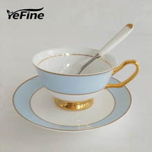 YeFine European Style Bone China Coffee Tea Cup Saucer Set Ceramic Drinkware Cups With Stainless Spoon Porcelain Cup And Saucer(China)