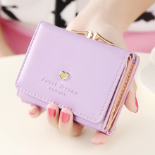 Fashion women wallets multi-function High quality small wallets rivet love short design three fold wallet coin purse for women(China)