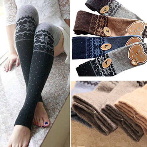 Women-Snowflake-Thigh-High-Leg-Warmers-Socks-Winter-Over-Knee-Boot-Cuff-Stocking