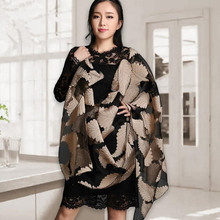 2016 Womens Leaf Twill Lace Warm Fashion High Quality Show Shawls And Scarves Luxury Beautiful Winter Fall Pashmina Wrap