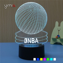 YIMIA 7 Color 3D Visual Acrylic LED Night Light NBA Basketball USB Lighting Bedroom Table Desk Lamp Colorful Atmosphere Lamp(China)