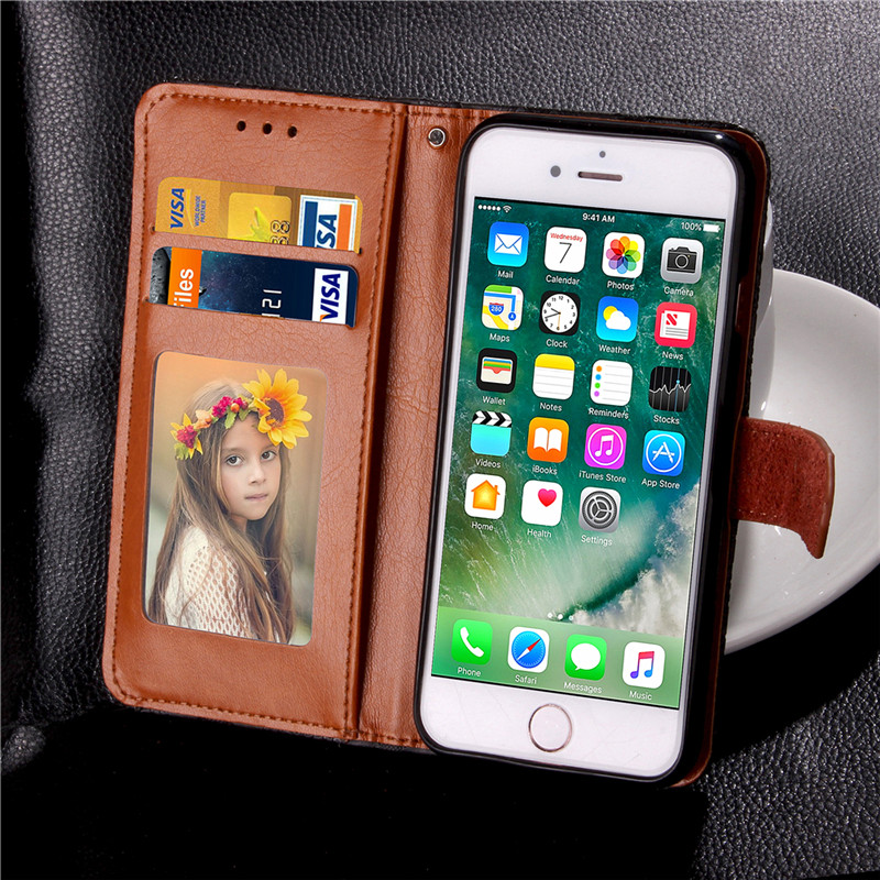 Fundas Apple iphone 7 Wallet Case Leather Cover iphone 7 iPhone7 Flip Phone Cases Coque Holder Stand Mobile Phone Bags