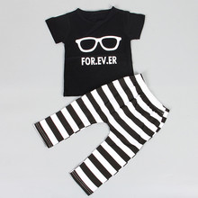 2016 Hot Fashion baby boy clothing set cool glasses short sleeve cartoon T-shirt+pants Infant bebe newborn baby girl clothes set