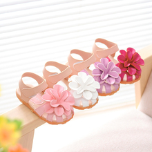 Hot SALE kids shoes 2016 summer new flower princess girls shoes baby child toe cap covering girls sandals size 21-30