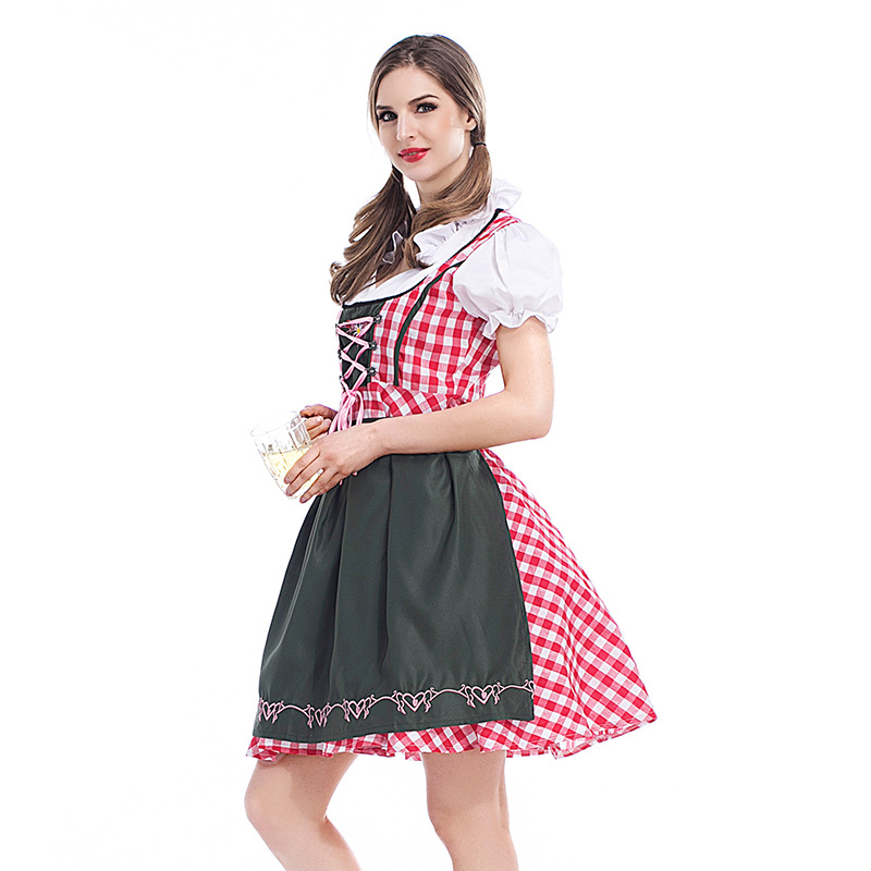 Sexy Beer Girl Dirndl Costume Red Plaid Oktoberfest Beer Party Beer Maid  Outfit  6bbd6ceacd0b