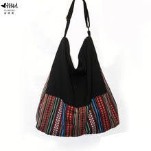 2017 New Large Handbag Purse Women Shoulder Tote Bag High Quality Cotton Canvas Handmade Striped Women's Handbags free shipping