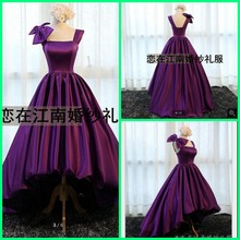 2016 new designer purple a line high low prom dress cap sleeve with bow simple prom gowns best selling cheap prom dresses