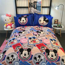 Mickey Mouse 3D Printing Comforters Bedding Set Quilt/Duvet Covers Sanding Cotton 500TC Woven Girls Baby Bedroom Pink Blue Color(China)