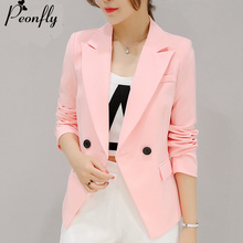 Buy PEONFLY 2018 New Ladies Blazers Fashion Single Button Blazer Women Suit Jacket Green/Pink Blaser Female Blazer Femme for $16.95 in AliExpress store