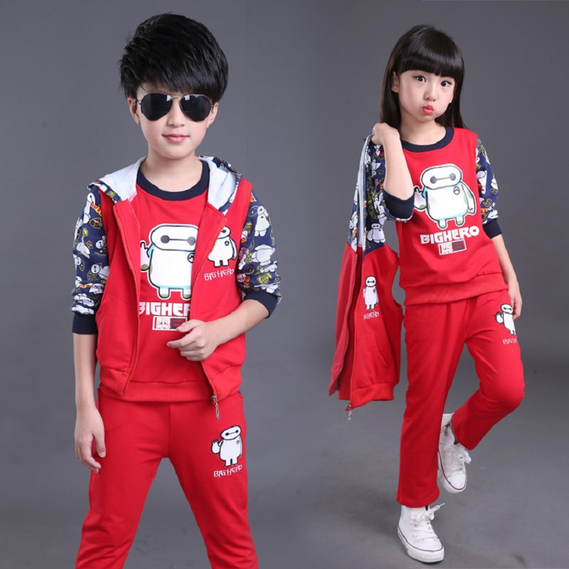 Childrens clothes 3pcs/set Autumn winter Childrens Clothing Set Boys Girls Outerwear Pant Sports Suit 4 6 8 10 12 14 year<br>