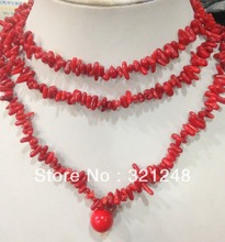 Free shipping 4x10mm natural red branch chain coral necklace for women high grade party gifts diy jewelry making 48inch GE5311