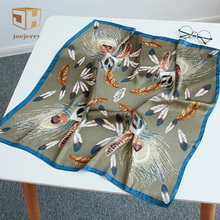 joejerry Peacock Feather Print Silk Scarf Square Mini Satin Scarf Bandana Women Foulard Femme 2017 Office Lady Gift