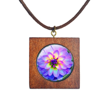Dahlia How Beautiful Wood Square Necklace Soft Faux Velvet Cords Colorful Flowers Buddhist Amulets Pendant Jewelry