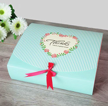 Alice12-1, Size:31*25*8cm large Blue/Pink paper gift box big size kraft cardboard boxes large size paper box for T shirt/Scarf(China)