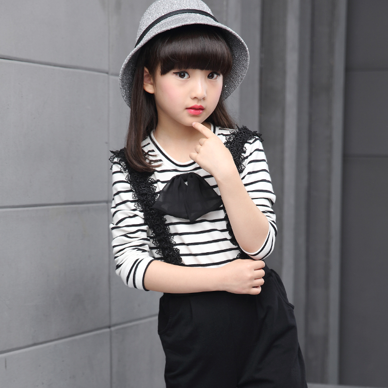 2016 fashion Girls suits Long sleeve shirt Bib pants Set stripe Trendy suit autumn New products Personalized suit<br><br>Aliexpress