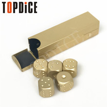 High Quality New Outdoor Entertainment Party Portable Aluminium Alloy Poker 5pcs Solid Dominoes Dice Game Dice Dice Poker(China)