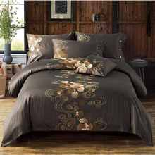 60S Pure Cotton Tribute Silk Quilt Cover King Queen Size 4pcs Flowers Embroidered Bedding Sets Bed Linen Pillowcase 2017