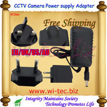 Security professional Converter EU/UK/US/AU Adapter for CCTV Camera Power Supply 12V 1A DC/Out, 100~240V AC/In Free Shipping