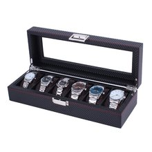 OUTAD 6 Grids Carbon Fiber Watch Box Jewelry Watches Display Storage Box Organizer Durable Leather Case Perfect Gifts(China)