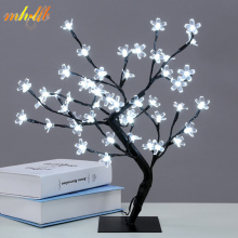 Mini LED Crystal Cherry Blossom Tree Light Night Lights Table Lamp Christmas Fairy Wedding Decoration Indoor Lighting Luminarias(China)