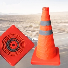 42cm Folding Road Safety Warning Sign Traffic Cone Orange Reflective Tape(China)