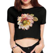 DUTRODU Flowers personal design cheap O-neck 100% cotton youth cropped off for street hip hop Girls Tight crop Corp top(China)