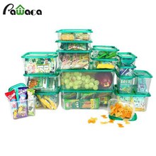 17 PCs Plastic Food Storage Jars Fresh Fruit Meat Dry Nut Storage Container Microwave Oven Food Savers Boxes Lunch Container(China)