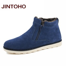 JINTOHO Big Size Men Shoes 2016 Top Fashion New Winter Casual Ankle Boots Warm Winter Fur Shoes Leather Footwear