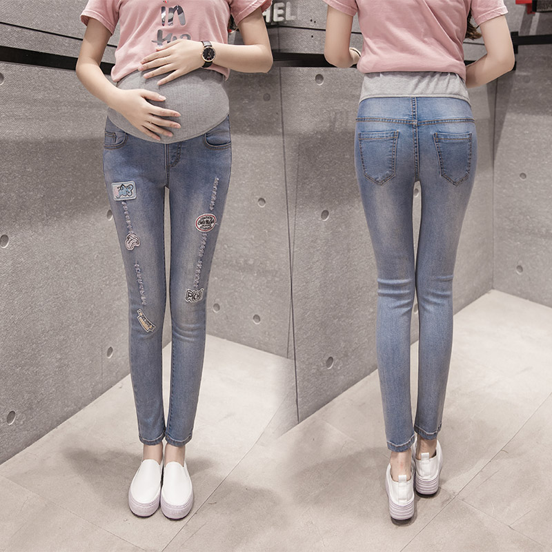 2017 Spring New Elastic Maternity Pants Pregnancy Denim Jeans Clothes For Pregnant Women Belly Pants Trousers<br>