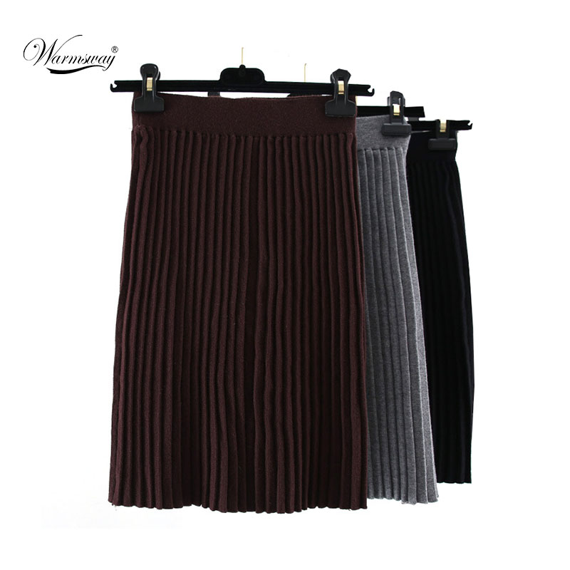 High Quality Pleated Skirts Autumn Spring Casual Women Clothing High Waist Package Hip Skirt  Elegant Knitted Skirts C-036