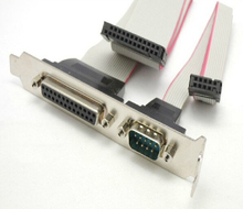 DB25 25Pin Parallel Port Printer LPT + RS-232 RS232 COM DB9 9Pin Serial Port Cable Cord Wire Bracket