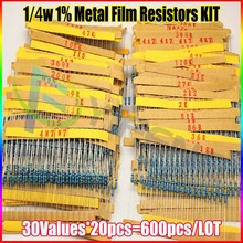 NEW 600 Pcs 30 Kinds Each Value Metal Film Resistor pack 1/4W 1% resistor assorted Kit Set
