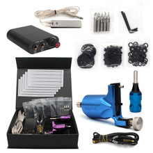 2017 Pro Complete Tattoo Machine Kit Set 1Pcs Rotary Tattoo Machine Gun Power Supply Needles Grips Tips Footswitch With Case