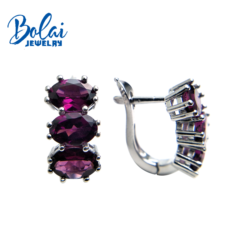 Bolaijewelry,natural purple garnet oval 5*7mm gemstone clasp earring 925 sterling silver fine jewelry women Christmas gift box