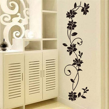Black flower Vine Wall Stickers Refrigerator Window cupboard Home Decorations Diy Home Decals Art Mural Posters Home Decor(China)