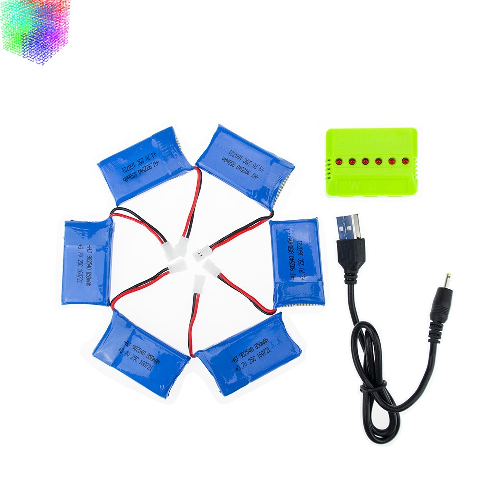 6pcs Syma X5C rc Lipo battery 3.7V 850mAh and green charger for syma x5 x5sw x5sc cx30 cx30w Helicopter drone part<br>