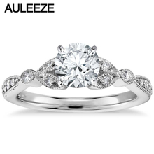 Petite Vintage Pave Leaf Lab Grown Diamond Engagement Ring 1CT Moissanites 14k White Gold Rings For Women Classic Wedding Band