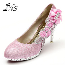 New Design Women Girl Wedding Pumps Bridal Glitter Fake Crystal Rose Flower Evening Bridal Shoes Party 8cm High Heel Court Shoes(China)