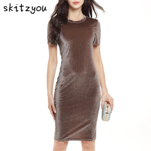 Buy skitzyou Women Brown Velvet Sheath Party Dresses Summer Round Neck Short Sleeve Slim Elegant Pencil Office Bodycon Sexy Dress for $11.24 in AliExpress store