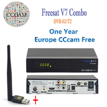 DVB-S2 DVB-T2 Freesat V7 Combo Satellite Receptor HD Full 1080P Terrestrial Decoder with 1 Year Europe CCcam Cline+1pc USB WIFI