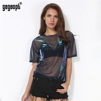 Gagaopt 2017 verano sexy camiseta de malla see-through mujeres camisetas de manga corta del o-cuello perspectiva shine mujeres cuasal tops