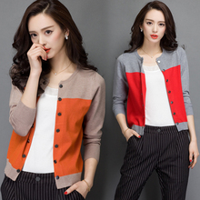 2015 high quality autumn winter sweater women cardigan double breasted women's color block decoration cashmere sweater outerwear(China)