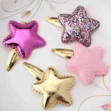 M MISM Shiny Star Hair Clips Glitter PU Leather Hairpin Cute BB Clips Bling Sequins Heart Shape Hair Clip Kids Gifts Headwear(China)